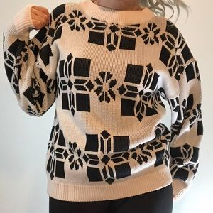 Vintage Razzle Dazzle geometric print sweater